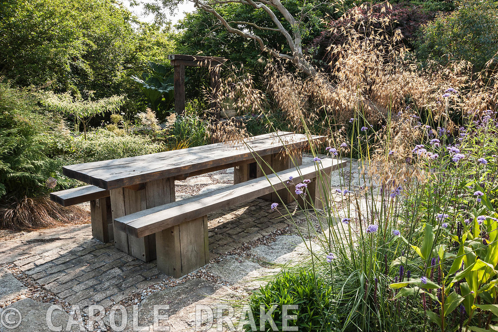 Chunky oak table and benches on a sunny terrace beside the house, framed by Stipa gigantea, Verbena bonariensis and Cornus co...