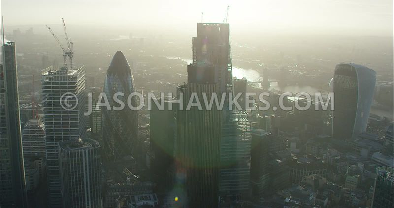 London Aerial footage, City of London skyline with Heron Tower and Leadenhall Building.