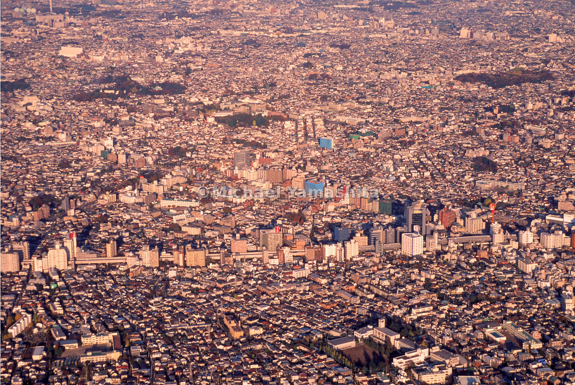 An aerial view of a crowded part of Tokyo, Japan.
