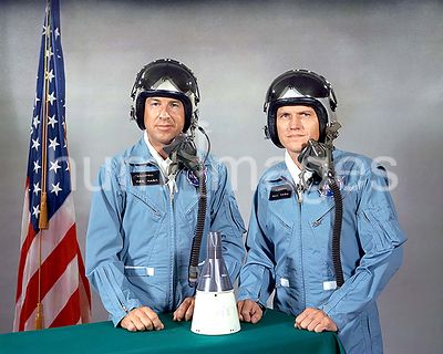 1 July 1965) --- Astronauts Frank Borman (right), command pilot, and James A. Lovell Jr., pilot, are the prime crew members f...