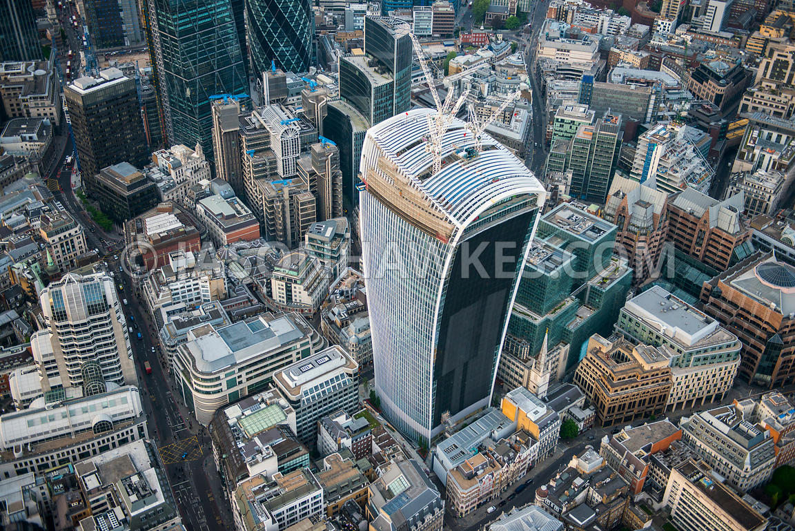 Aerial view of the construction of 20 Fenchurch Street, London