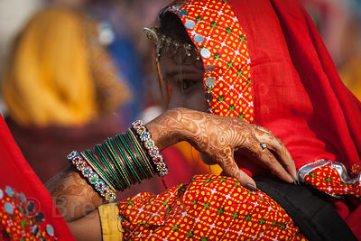 Dancing girls in the stadium at the Pushkar Camel Mela, Pushkar, India.