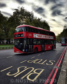 London's iconic double-decker bus at Marble Arch and Hyde Park.  The New Routemaster, originally referred to as the New Bus f...