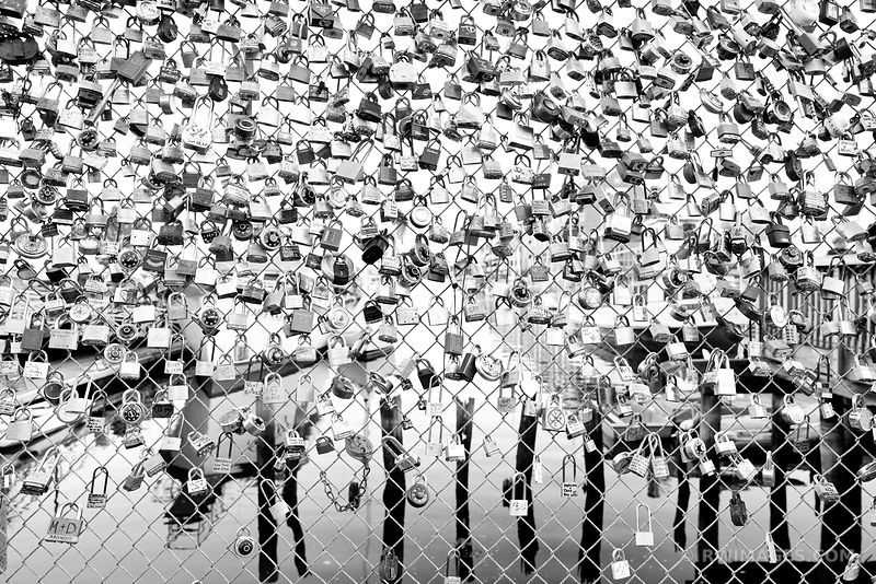 LOVE LOCK FENCE PORTLAND MAINE BLACK AND WHITE