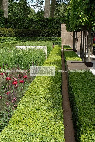 Jardin Contemporain, Jardin Design. Haie De Buxus Sempervirens (buis).  Sculpture. Designer : Luciano Giubbilei. Chelsea FS, Angleterre
