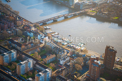 Aerial view of London, Chelsea World's Ends Estate and Houseboars with Cheyne Walk.
