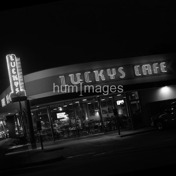 Lucky's Cafe night time photo (black and white)