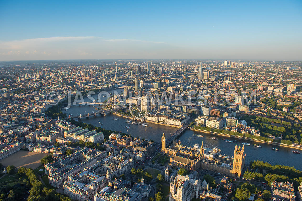 Aerial view of the River Thames as it flows through Central London
