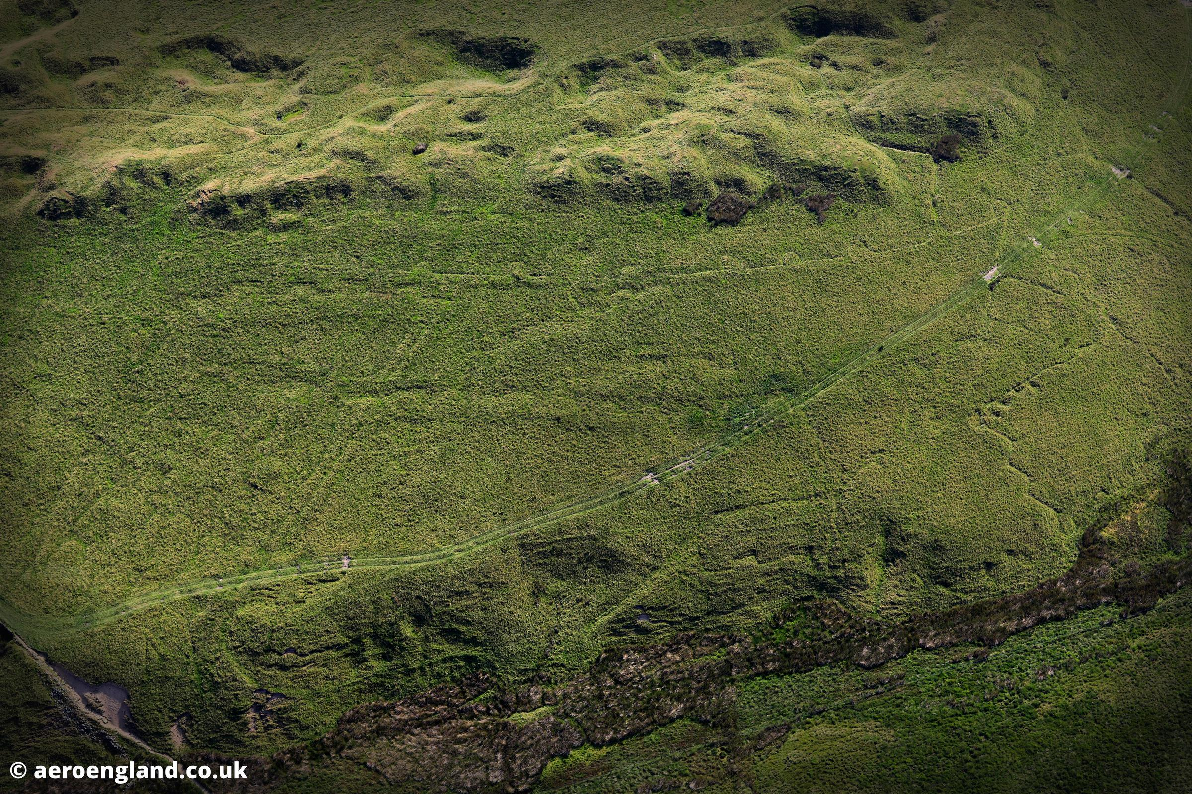 aerial photograph of the practice trenches dug in World War1 by the Sheffield Pals on Hallam Moor