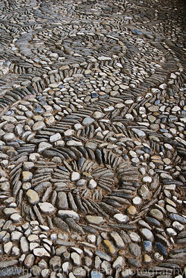 Gardens of the Alhambra, Granada, Spain. Detail of cobble paving patterns. © Jo Whitworth