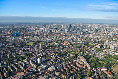 Aerial view of East London, Colombia Road towards City of London.