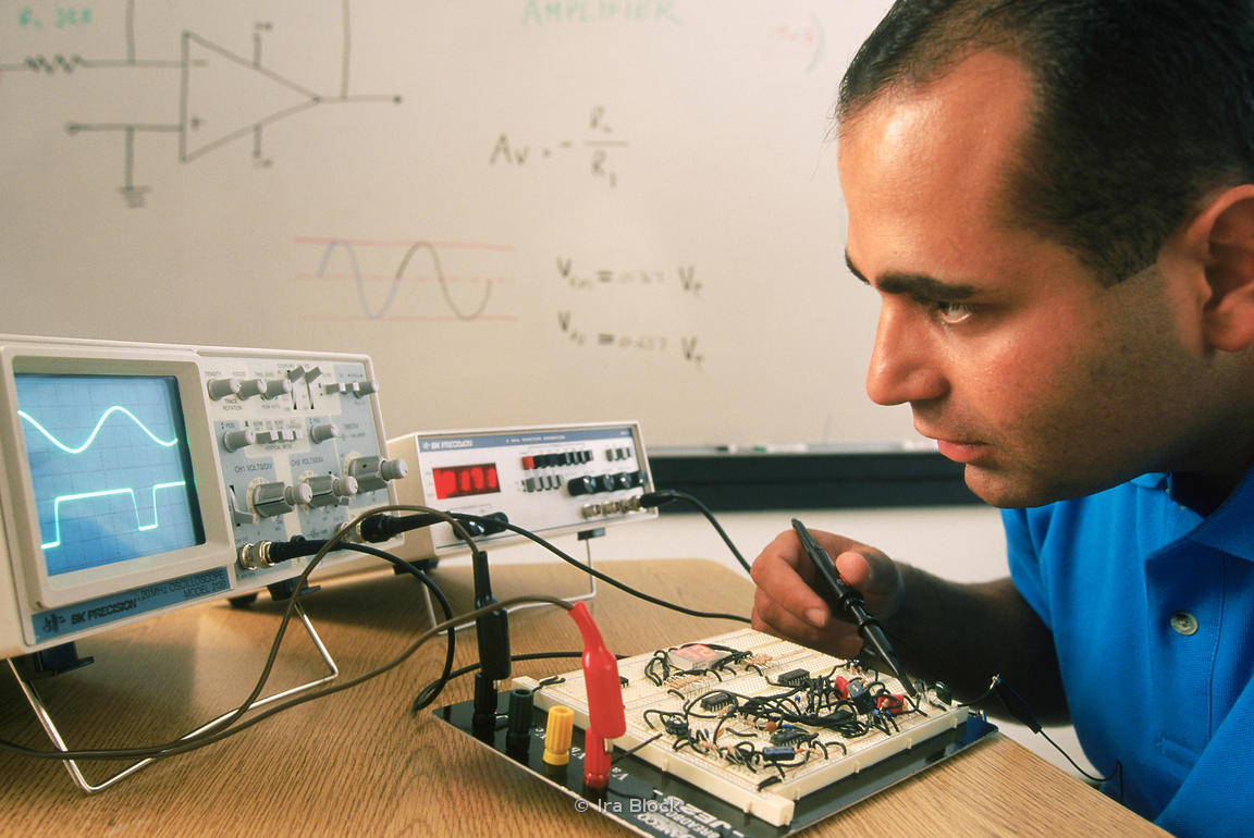An electronics engineer at work.