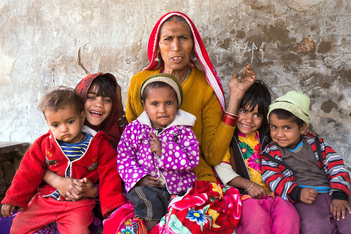 Matriach and grandchildren in Kharekhari village, Pushkar, Rajasthan, India