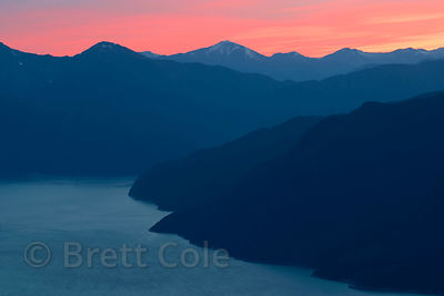 Sunset over the South Bentinck Arm, Great Bear Rainforest, Nuxalk Territory, British Columbia