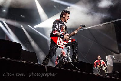 LOUISVILLE, KY, 30 September 2017: Five Finger Death Punch, performing at Louder Than Life festival, Champions Park, Louisevi...
