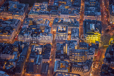 Aerial view of London, Haymarket at St James's at night time.