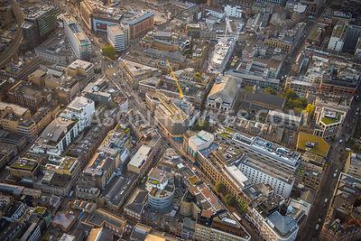 Aerial view of London, Curtain Road towards Principal Place redevelopment.
