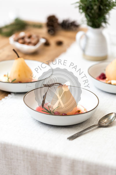 Cranberry Poached Pears with mascapone cheese dessert