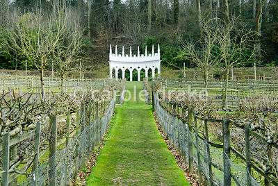 View through the geometric kitchen garden to the Exedra. Espaliered apples and pears line the boundaries. Painswick Rococo Ga...