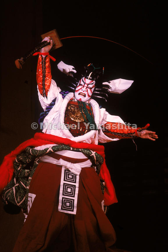 Scene from the Shibaraku, a popular classic tale of good overcoming evil, performed at the the Kabukiza Theater, Tokyo. The k...