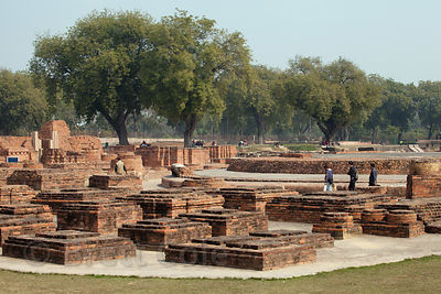 "Ruins at the former site of the ""main temple"" at the Sarnath archaelogical site, Sarnath, India."