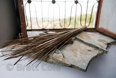 Small whisk broom on a window ledge in a Hindu temple, Badlya, Rajasthan, India