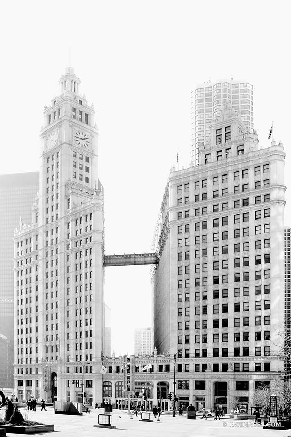WRIGLEY BUILDING CHICAGO ARCHITECTURE BLACK AND WHITE VERTICAL