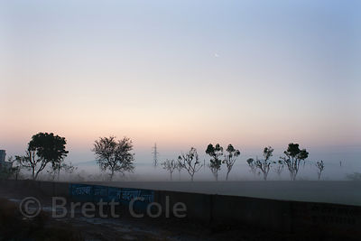 Morning fog in sparse desert, Akhri, Ajmer, Rajasthan, India
