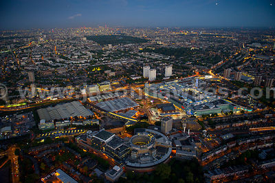 Aerial view of Westfield Shopping Centre at night, Shepherd's Bush, London