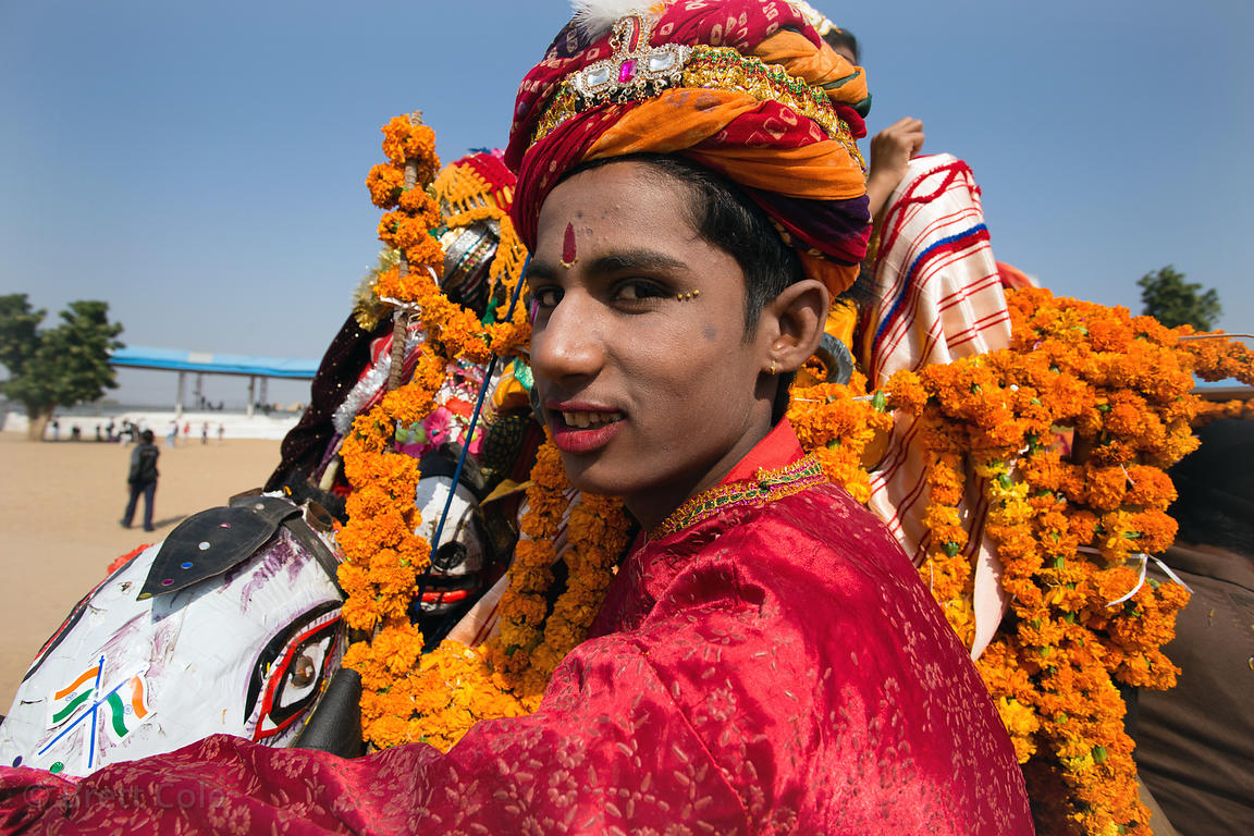 Performers at the Pushkar Camel Fair pack up their show, Pushkar, Rajasthan, India