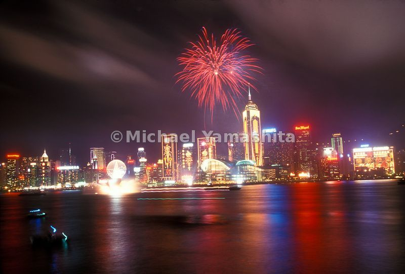 A fireworks show in the Hong Kong Harbor.