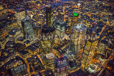 "1200ft over the City of London at night. View showing the new buildings incluing the "" Can of Ham "", 100 Bishopsgate, 22 Bish..."