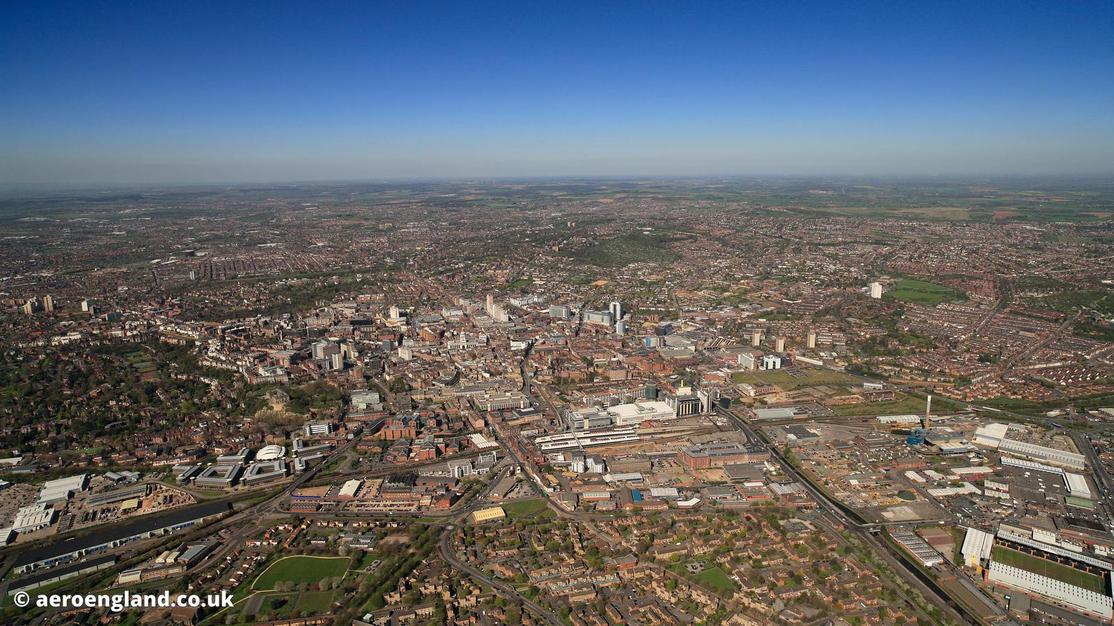 Panoramic wide angle aerial photograph Nottingham England UK