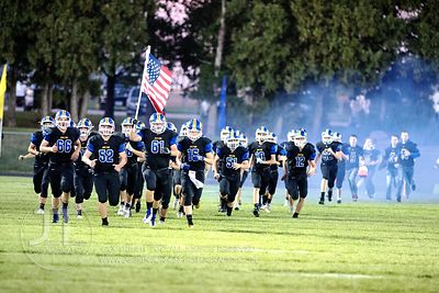 Wilton takes the field to play Iowa City Regina prior to the first half of play in Wilton on Friday, September 29, 2017.  (Ju...
