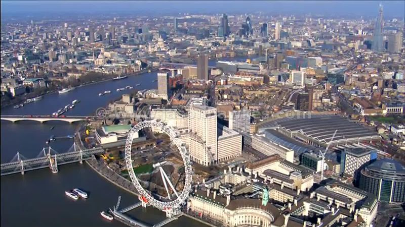Aerial footage of Waterloo and the River Thames, London, England, UK