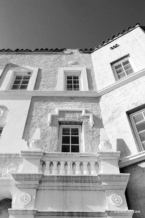 OLD BUILDING FACADE COCONUT GROVE MIAMI FLORIDA BLACK AND WHITE
