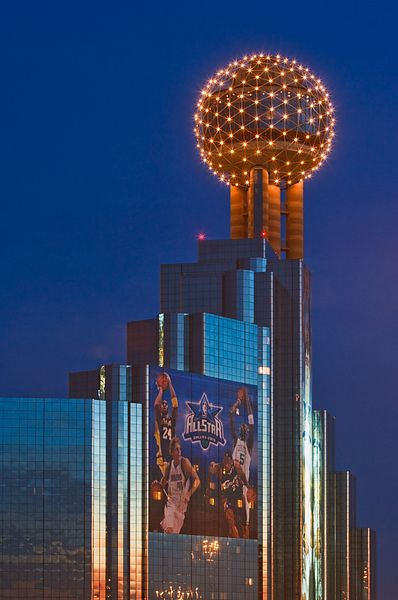 Reunion Tower with Allstar Game Banners
