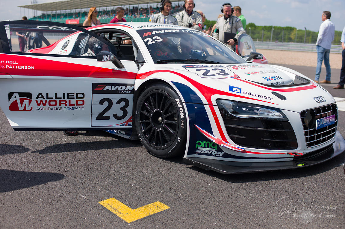 United Autosports' Audi R8 LMS Ultra on the starting grid at the Silverstone 500 - the third round of the British GT Champion...