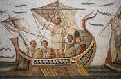 Mosaic of Ulysses tied to the mast of a ship to resist the songs of the Sirens, from Dougga, Bardo museum, Tunis, Tunisia