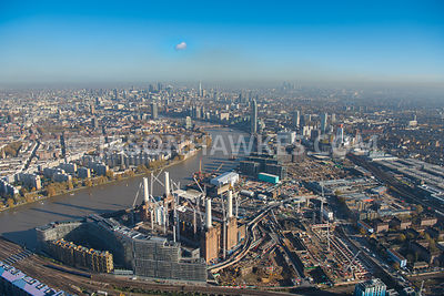 Aerial view of London, Nine Elms with Battersea Power Station and River Thames.