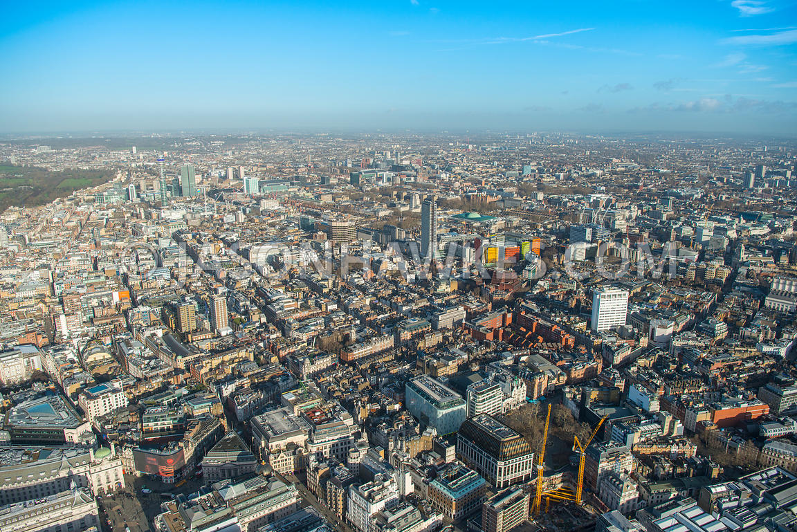Aerial view of London, Piccadilly Circus and Soho towards Oxford Street from Regent Street, St James's.