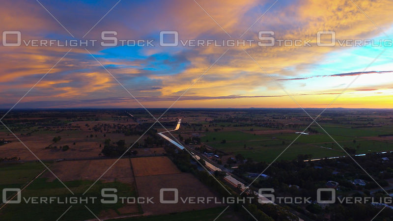 Agricultural Area Kyabram Victoria Australia at Sunset