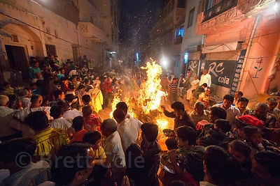 Traditional bonfire during the Holika Dahan observance, on the night before Holi, Pushkar, Rajasthan, India