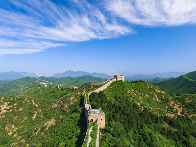 Aerial view of the world's longest wall soaring thousands of miles along mountaintops in China, it's the famous world heritag...