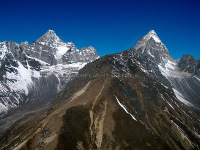 NEPAL Mount Pharilapche -- 16 Apr 2005 -- Aerial view of Mount Pharilpache, 6,017m (left) and Mount Chadoten, 5,065m (right),...