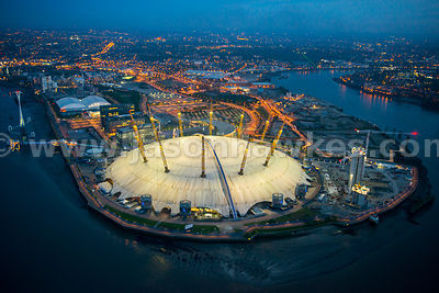 Aerial view of the O2 Arena at dusk, London