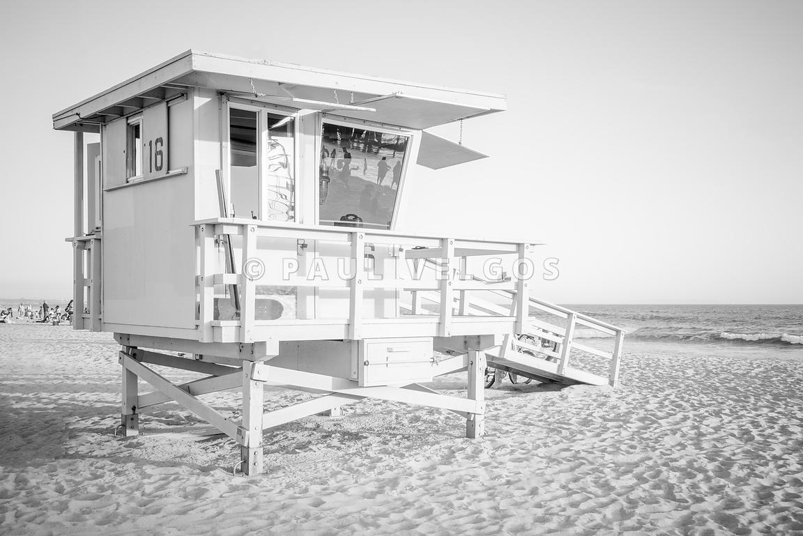 Lifeguard Tower 16 Santa Monica Black and White Photo