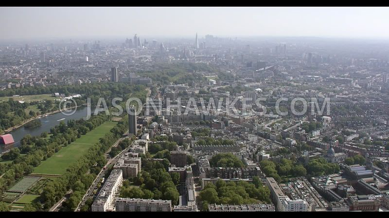 Aerial footage of Knightsbridge and Harrods, London.