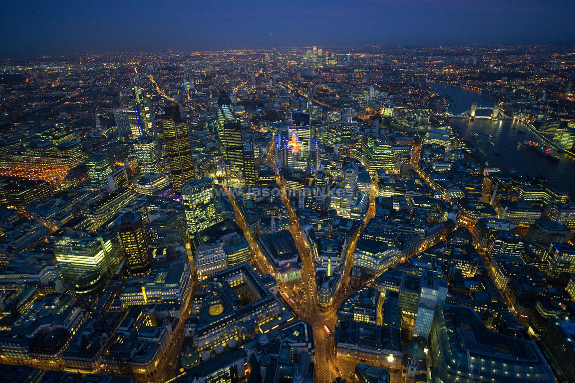 Aerial view over The Shard, London City of London at night