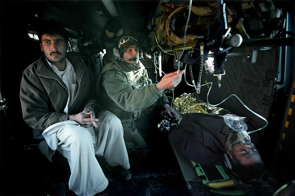 2009. Medical evacuation operation in the Sterzing area south of Kabul. The patient is an Afghan injured with knives.